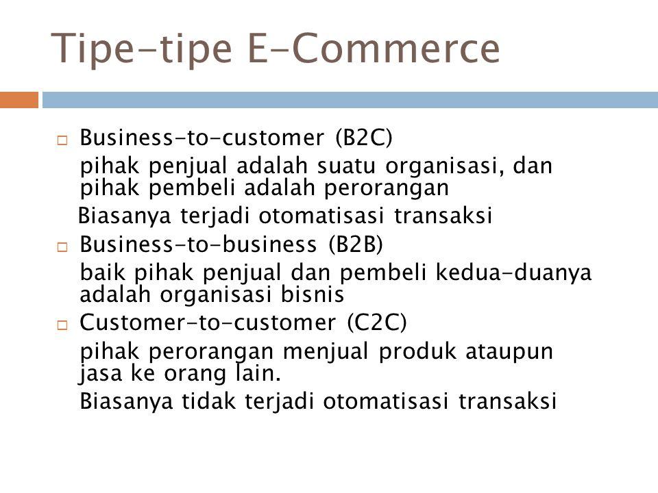 Tipe-tipe E-Commerce  Business-to-customer (B2C) pihak penjual adalah suatu organisasi, dan pihak pembeli adalah perorangan Biasanya terjadi otomatis