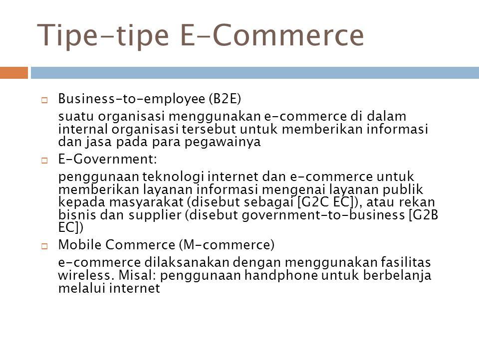 Tipe-tipe E-Commerce  Business-to-employee (B2E) suatu organisasi menggunakan e-commerce di dalam internal organisasi tersebut untuk memberikan infor