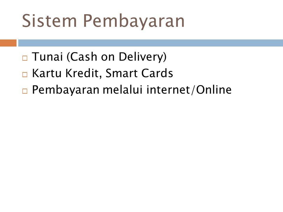 Sistem Pembayaran  Tunai (Cash on Delivery)  Kartu Kredit, Smart Cards  Pembayaran melalui internet/Online
