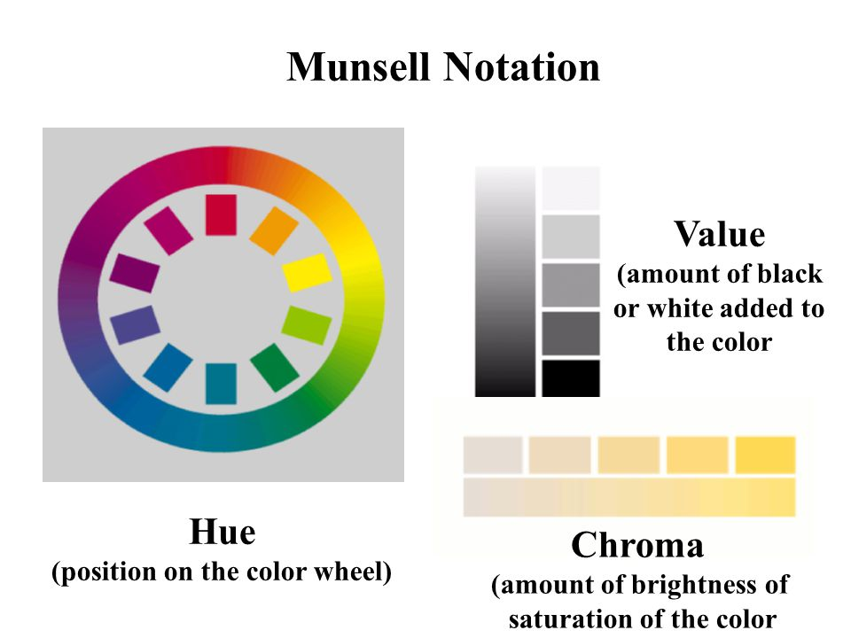 Munsell Notation Hue (position on the color wheel) Value (amount of black or white added to the color Chroma (amount of brightness of saturation of th