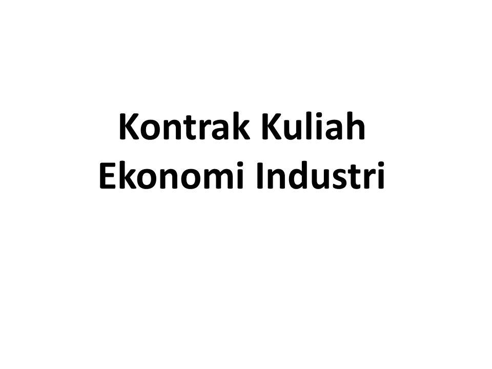 Industrial Economics Ilmu ekonomi industri, dikenal juga dengan nama Industrial Orgnization atau lengkapnya Economics of Industrial Organization Merupakan salah satu cabang ilmu ekonomi yg mempunyai pokok bahasan tentang perilaku (behavior / conduct) firm dalam suatu industri serta dampaknyua terhadap industri & konsumen (performance).