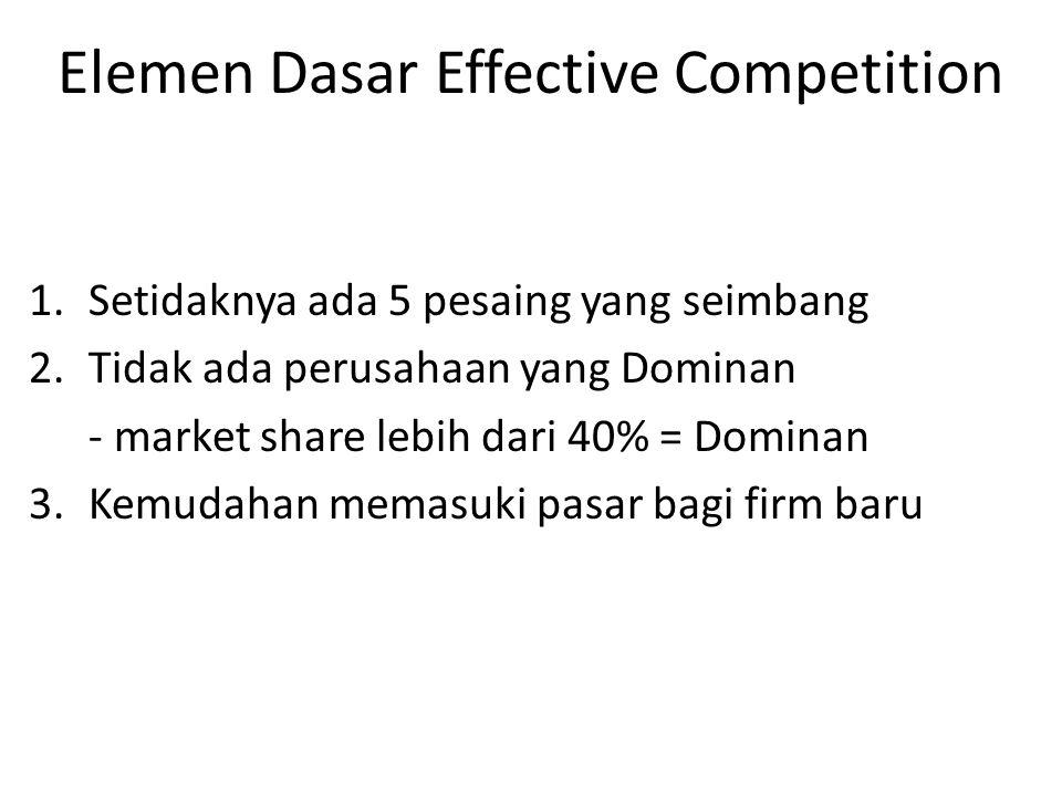 Elemen Dasar Effective Competition 1.Setidaknya ada 5 pesaing yang seimbang 2.Tidak ada perusahaan yang Dominan - market share lebih dari 40% = Dominan 3.Kemudahan memasuki pasar bagi firm baru