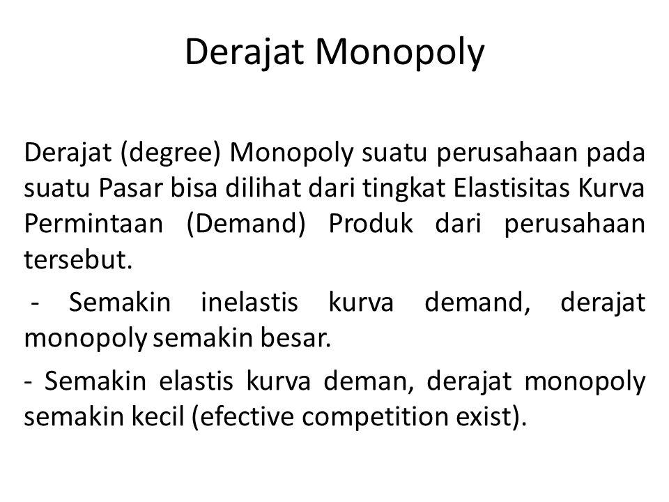 Derajat Monopoly Derajat (degree) Monopoly suatu perusahaan pada suatu Pasar bisa dilihat dari tingkat Elastisitas Kurva Permintaan (Demand) Produk dari perusahaan tersebut.