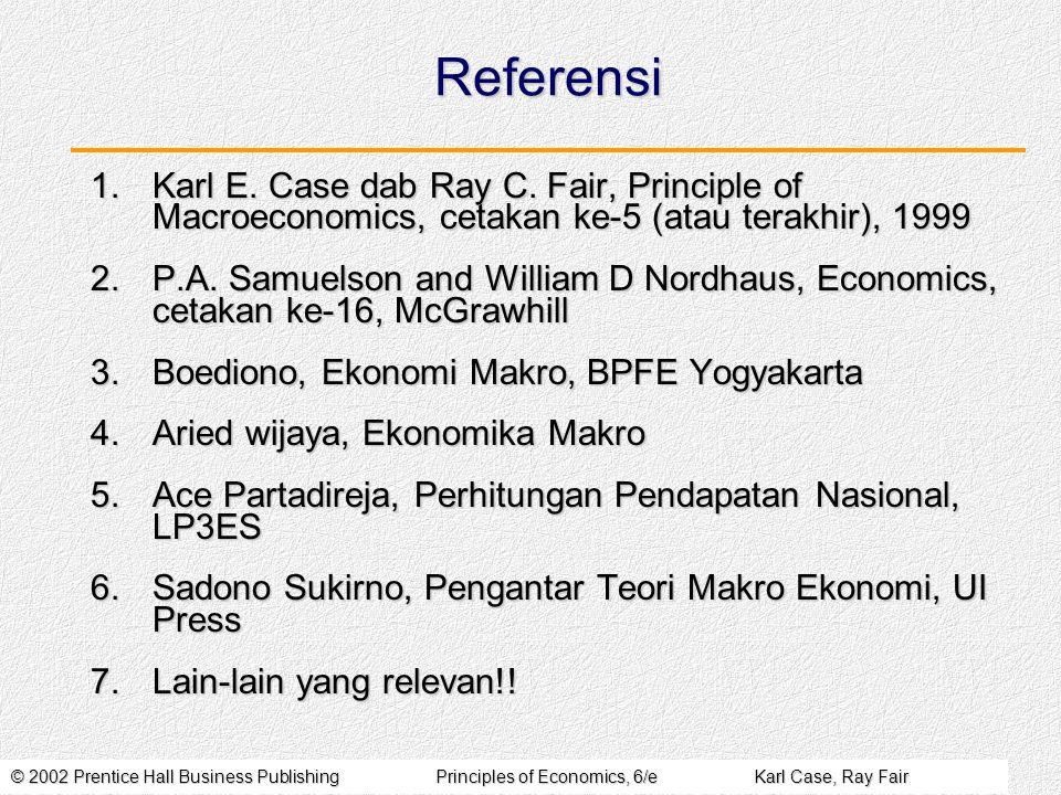 © 2002 Prentice Hall Business PublishingPrinciples of Economics, 6/eKarl Case, Ray Fair Cabang Utama Ekonomi Secara grs besar ada 2 cabang IESecara grs besar ada 2 cabang IE 1.Ilmu Ekonomi Makro: Mempelajari aktivitas ek secara keseluruhan (nasional, global)  agregatif Misalnya: pertumbuhan ek; inflasi; neraca pembayaran; investasi dsbnya