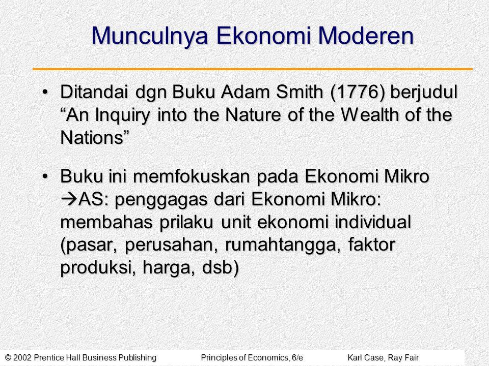 © 2002 Prentice Hall Business PublishingPrinciples of Economics, 6/eKarl Case, Ray Fair Perkembangan teori ekonomi moderen sangat pesat setelah munculnya tulisan AS tsb.