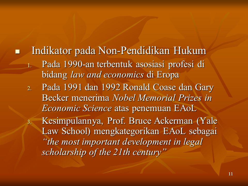 11 Indikator pada Non-Pendidikan Hukum Indikator pada Non-Pendidikan Hukum 1. Pada 1990-an terbentuk asosiasi profesi di bidang law and economics di E