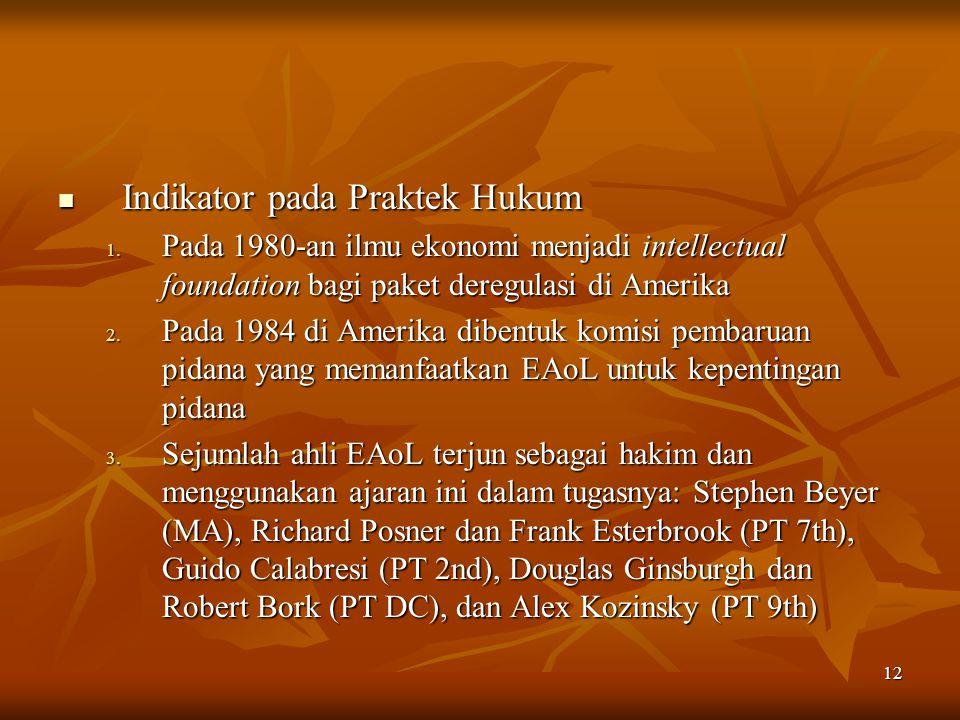12 Indikator pada Praktek Hukum Indikator pada Praktek Hukum 1. Pada 1980-an ilmu ekonomi menjadi intellectual foundation bagi paket deregulasi di Ame