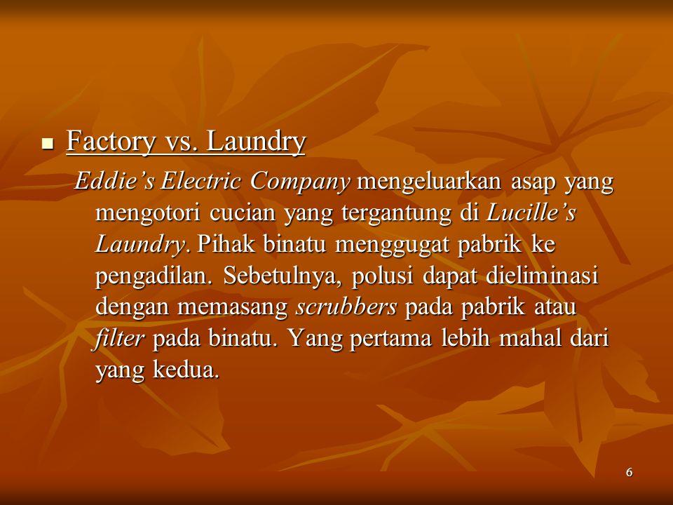 6 Factory vs. Laundry Factory vs. Laundry Eddie's Electric Company mengeluarkan asap yang mengotori cucian yang tergantung di Lucille's Laundry. Pihak
