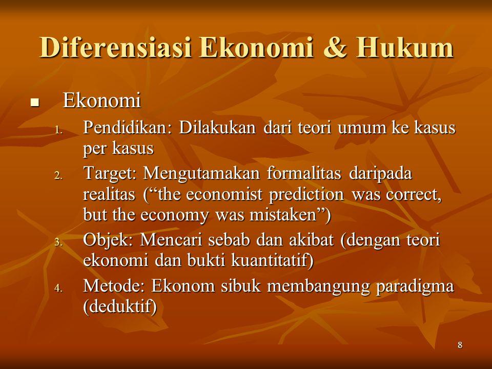 8 Diferensiasi Ekonomi & Hukum Ekonomi Ekonomi 1. Pendidikan: Dilakukan dari teori umum ke kasus per kasus 2. Target: Mengutamakan formalitas daripada