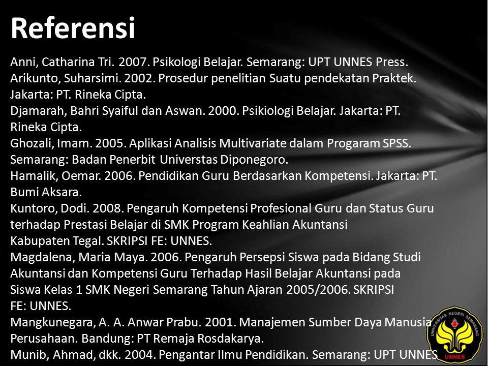 Referensi Anni, Catharina Tri. 2007. Psikologi Belajar. Semarang: UPT UNNES Press. Arikunto, Suharsimi. 2002. Prosedur penelitian Suatu pendekatan Pra