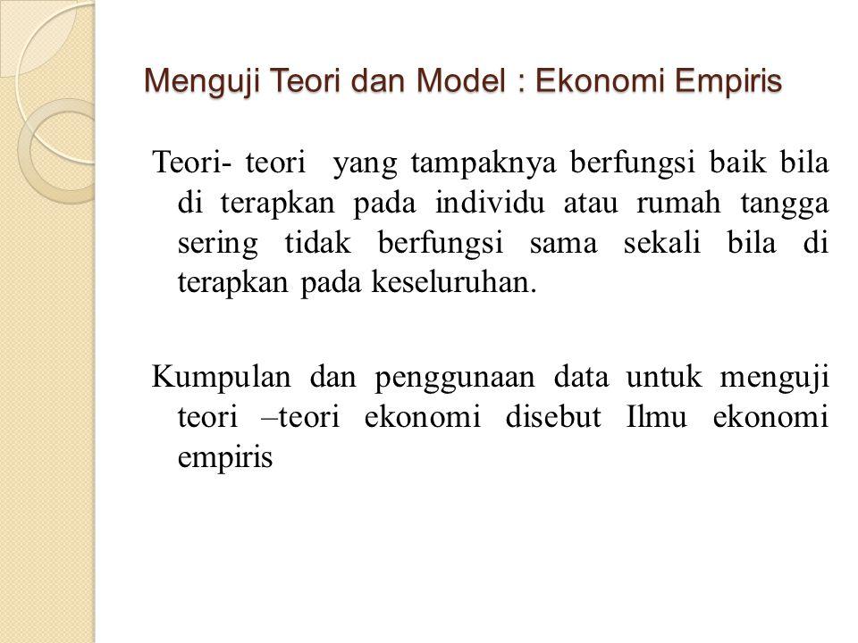 Menguji Teori dan Model : Ekonomi Empiris Teori- teori yang tampaknya berfungsi baik bila di terapkan pada individu atau rumah tangga sering tidak ber