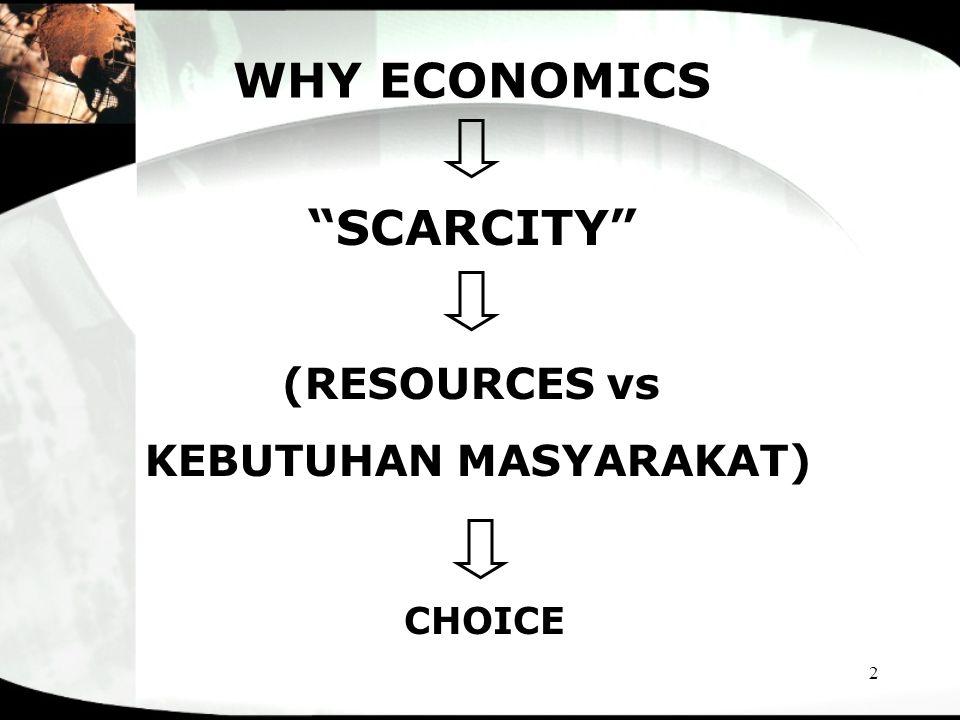 "2 WHY ECONOMICS ""SCARCITY"" (RESOURCES vs KEBUTUHAN MASYARAKAT) CHOICE"