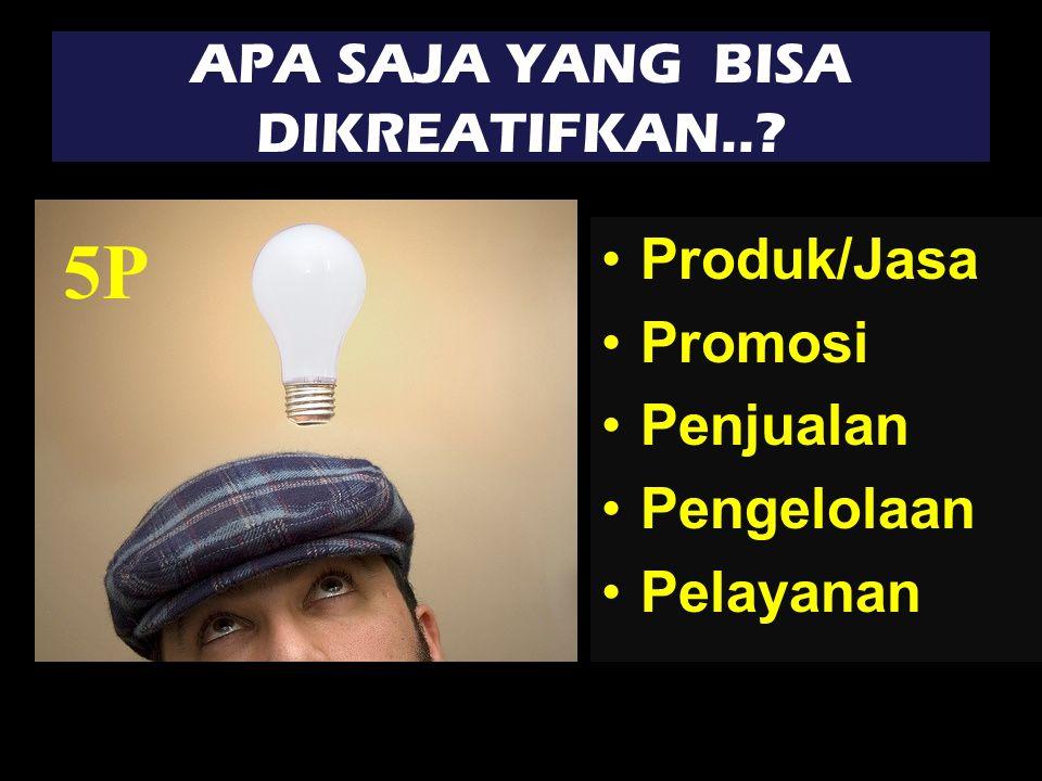 APA SAJA YANG BISA DIKREATIFKAN.. Produk/Jasa Promosi Penjualan Pengelolaan Pelayanan 5P