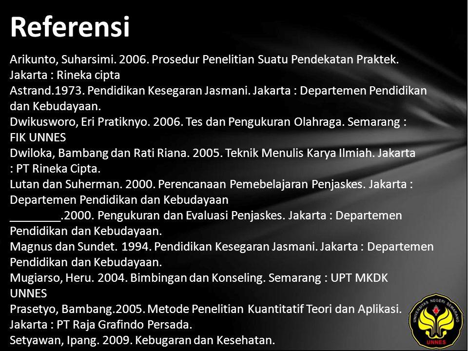 Referensi Arikunto, Suharsimi.2006. Prosedur Penelitian Suatu Pendekatan Praktek.