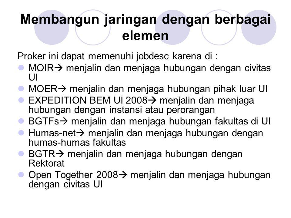 Struktur Humas BEM UI 2008 Ka Biro Deputi Internal Deputi Eksternal Deputi Keuangan Deputi Informasi & Data