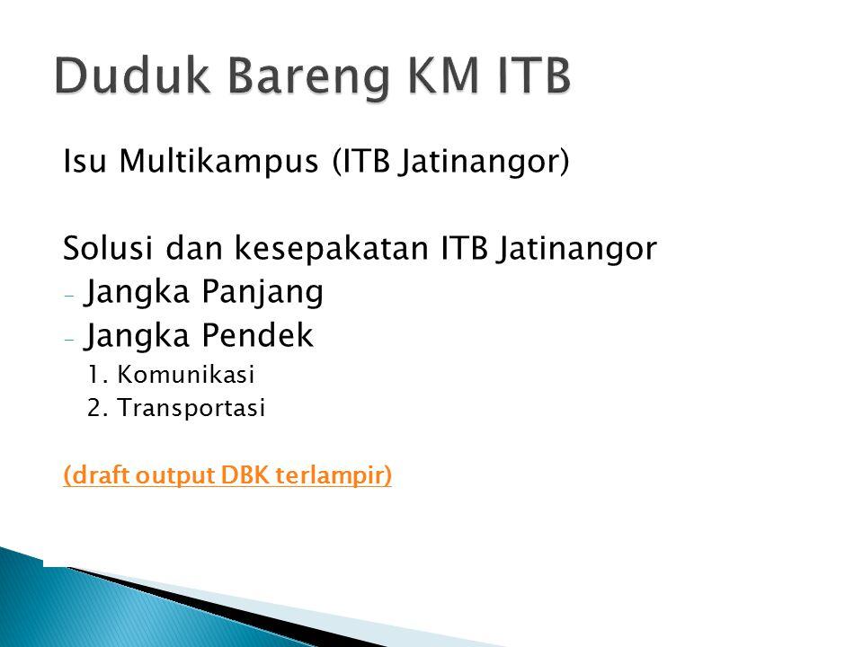 Isu Multikampus (ITB Jatinangor) Solusi dan kesepakatan ITB Jatinangor - Jangka Panjang - Jangka Pendek 1.