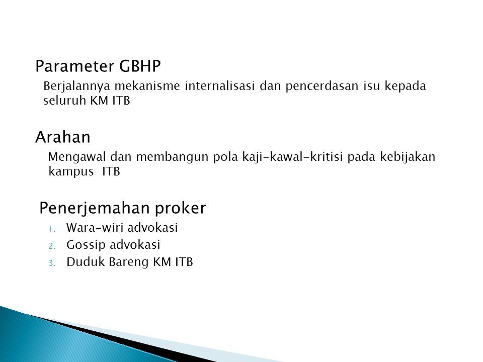 Parameter GBHP Berjalannya mekanisme internalisasi dan pencerdasan isu kepada seluruh KM ITB Arahan Mengawal dan membangun pola kaji-kawal-kritisi pada kebijakan kampus ITB Penerjemahan proker 1.