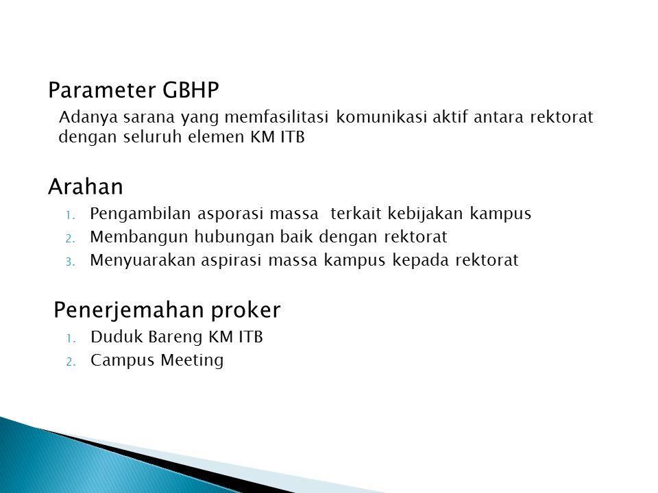Parameter GBHP Adanya sarana yang memfasilitasi komunikasi aktif antara rektorat dengan seluruh elemen KM ITB Arahan 1.