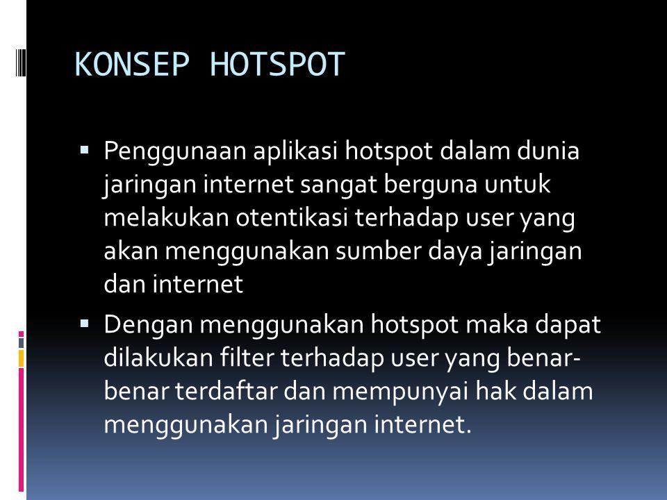 KONSEP HOTSPOT  Penggunaan aplikasi hotspot dalam dunia jaringan internet sangat berguna untuk melakukan otentikasi terhadap user yang akan menggunak