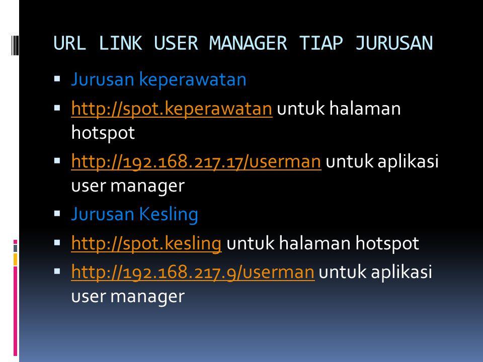 URL LINK USER MANAGER TIAP JURUSAN  Jurusan keperawatan  http://spot.keperawatan untuk halaman hotspot http://spot.keperawatan  http://192.168.217.