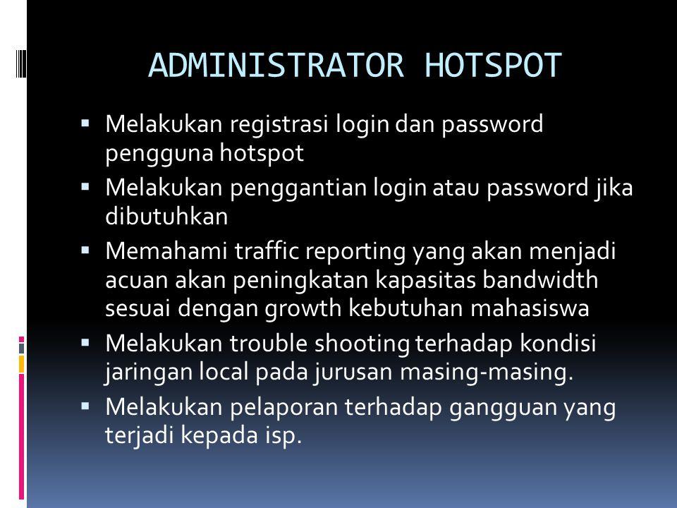 ADMINISTRATOR HOTSPOT  Melakukan registrasi login dan password pengguna hotspot  Melakukan penggantian login atau password jika dibutuhkan  Memaham