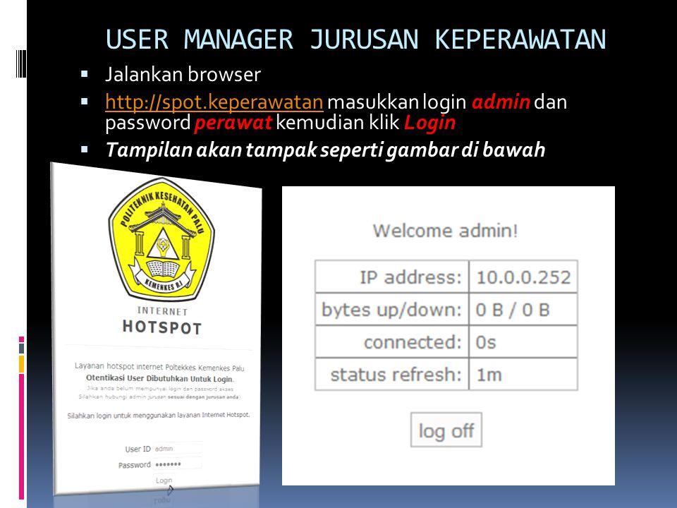 Setelah berhasil login ke dalam hotspot, selanjutnya adalah mengakses aplikasi user manager dengan cara http://192.168.217.17/userman Untuk Login ketik admin Password PoltekkeS Kemudian klik Login Selanjutnya tampilan Akan tampak seperti pada Gambar slide selanjutnya.