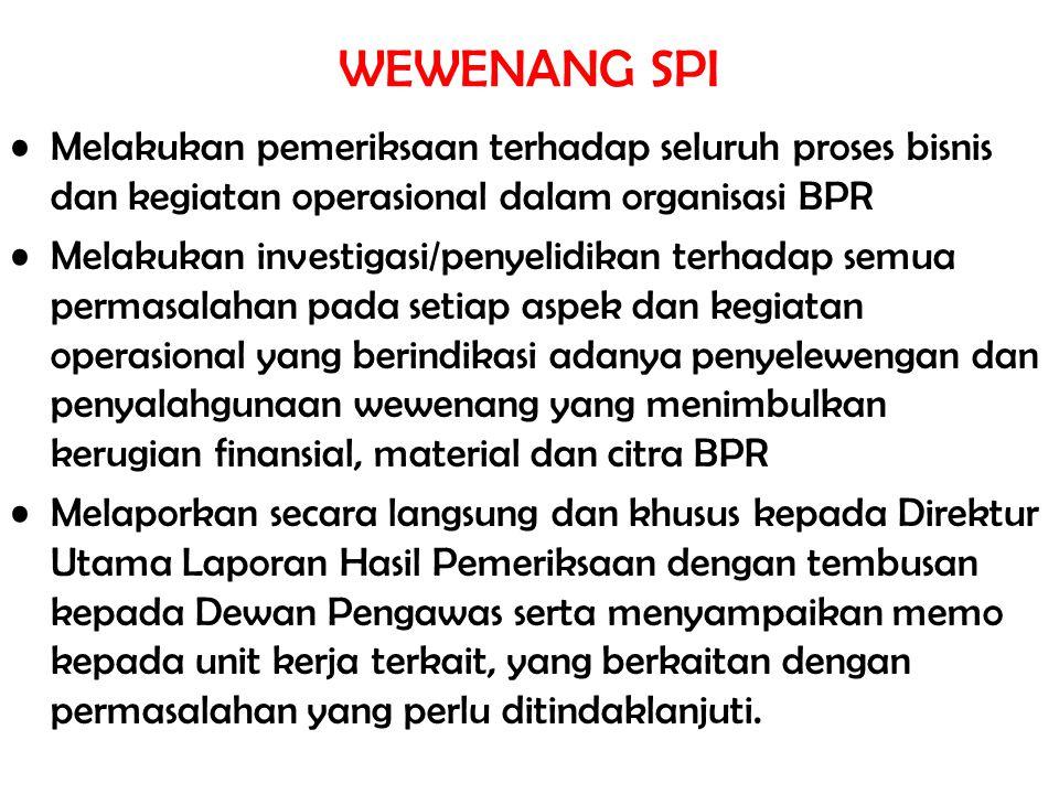 WEWENANG SPI Melakukan pemeriksaan terhadap seluruh proses bisnis dan kegiatan operasional dalam organisasi BPR Melakukan investigasi/penyelidikan ter