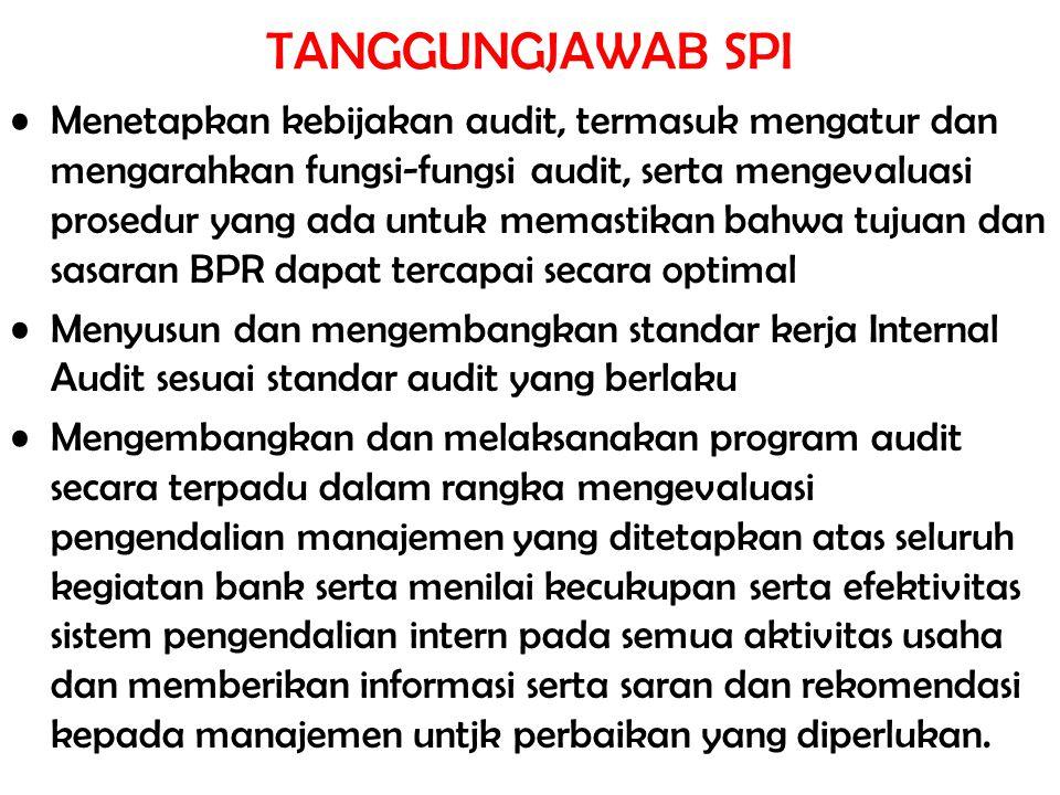 TANGGUNGJAWAB SPI Menetapkan kebijakan audit, termasuk mengatur dan mengarahkan fungsi-fungsi audit, serta mengevaluasi prosedur yang ada untuk memast