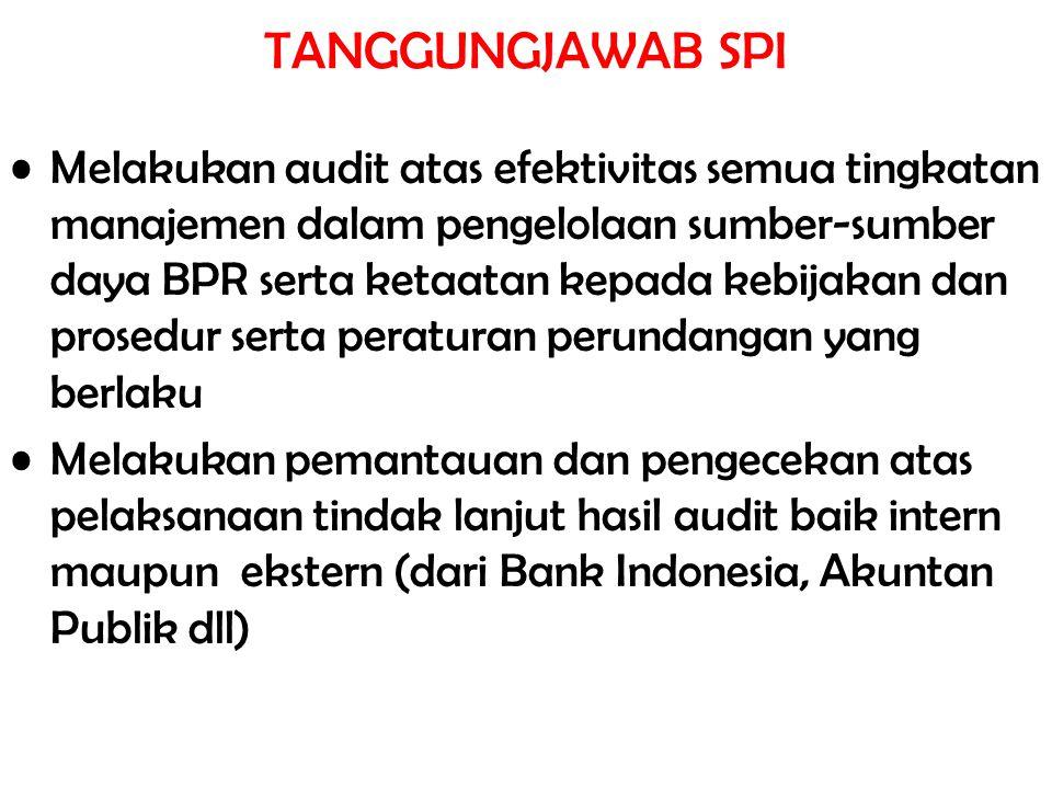 TANGGUNGJAWAB SPI Melakukan audit atas efektivitas semua tingkatan manajemen dalam pengelolaan sumber-sumber daya BPR serta ketaatan kepada kebijakan