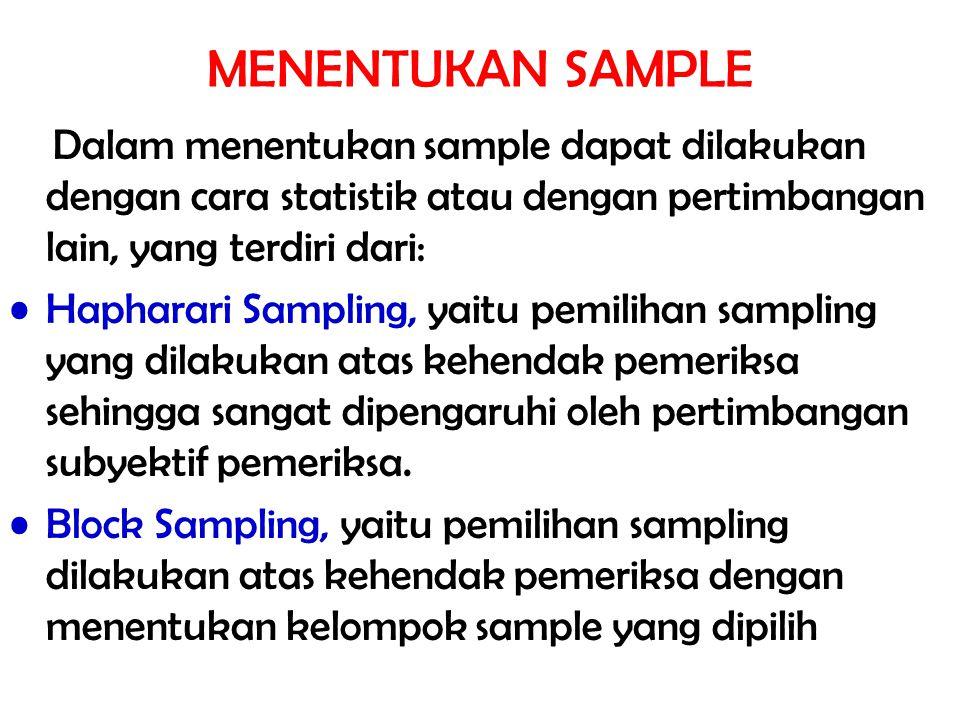 MENENTUKAN SAMPLE Dalam menentukan sample dapat dilakukan dengan cara statistik atau dengan pertimbangan lain, yang terdiri dari: Hapharari Sampling,