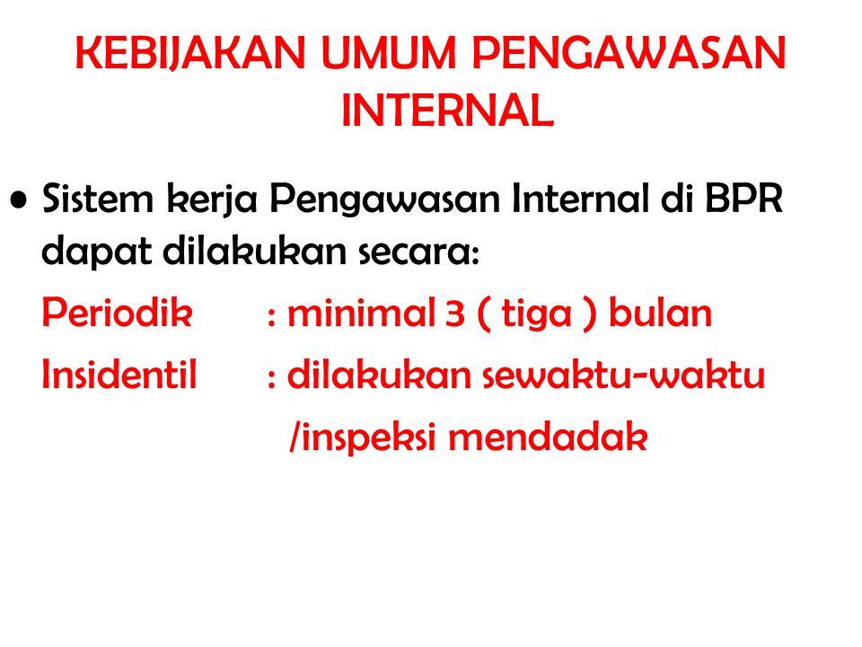 KEBIJAKAN UMUM PENGAWASAN INTERNAL Sistem kerja Pengawasan Internal di BPR dapat dilakukan secara: Periodik: minimal 3 ( tiga ) bulan Insidentil: dila