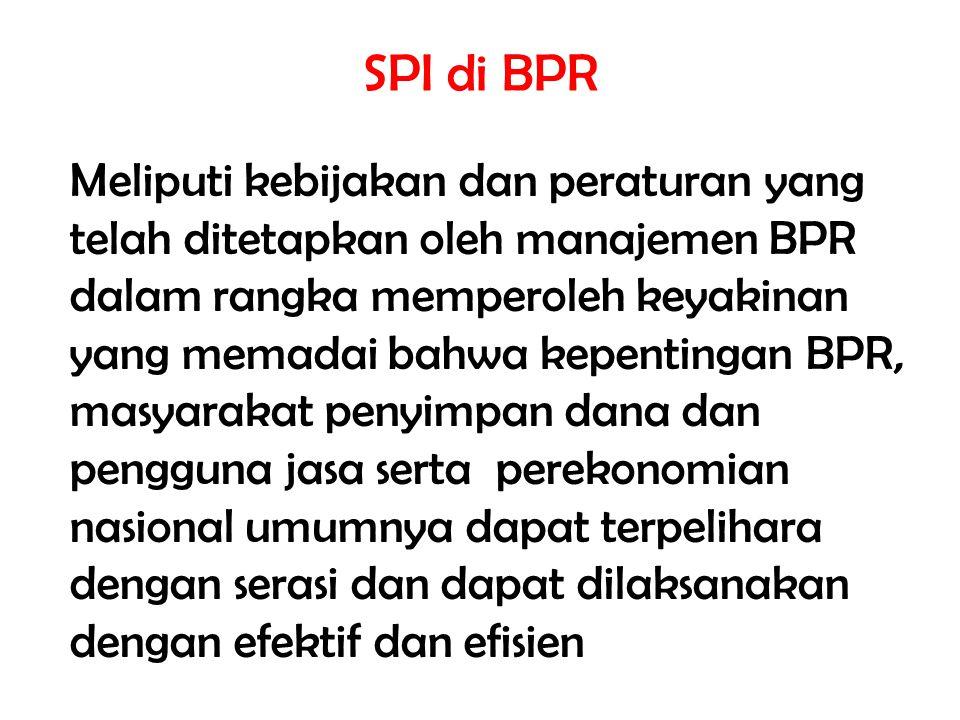 SPI di BPR Meliputi kebijakan dan peraturan yang telah ditetapkan oleh manajemen BPR dalam rangka memperoleh keyakinan yang memadai bahwa kepentingan