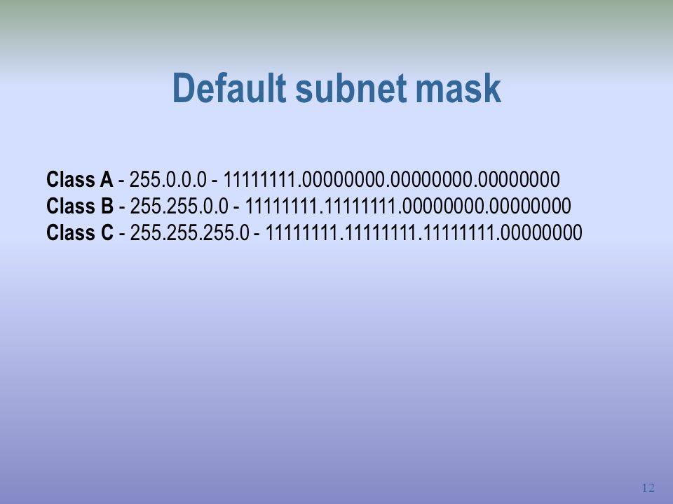 12 Default subnet mask Class A - 255.0.0.0 - 11111111.00000000.00000000.00000000 Class B - 255.255.0.0 - 11111111.11111111.00000000.00000000 Class C - 255.255.255.0 - 11111111.11111111.11111111.00000000