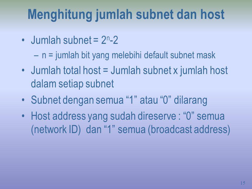 15 Menghitung jumlah subnet dan host Jumlah subnet = 2 n -2 –n = jumlah bit yang melebihi default subnet mask Jumlah total host = Jumlah subnet x jumlah host dalam setiap subnet Subnet dengan semua 1 atau 0 dilarang Host address yang sudah direserve : 0 semua (network ID) dan 1 semua (broadcast address)