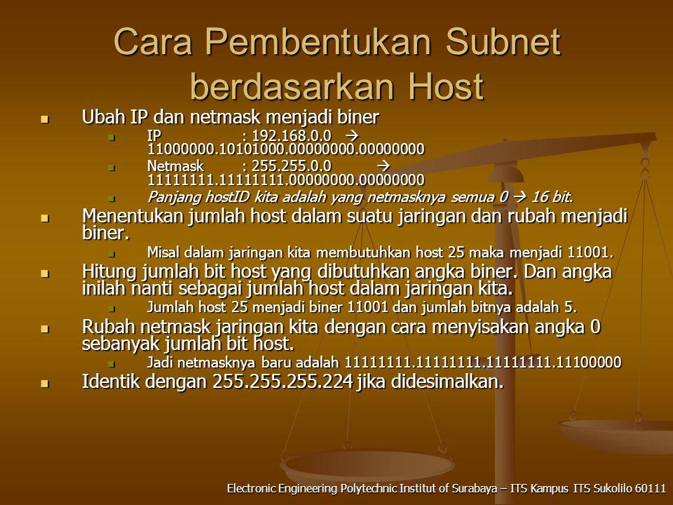 Electronic Engineering Polytechnic Institut of Surabaya – ITS Kampus ITS Sukolilo 60111 Cara Pembentukan Subnet berdasarkan Host Ubah IP dan netmask menjadi biner Ubah IP dan netmask menjadi biner IP : 192.168.0.0  11000000.10101000.00000000.00000000 IP : 192.168.0.0  11000000.10101000.00000000.00000000 Netmask: 255.255.0.0  11111111.11111111.00000000.00000000 Netmask: 255.255.0.0  11111111.11111111.00000000.00000000 Panjang hostID kita adalah yang netmasknya semua 0  16 bit.