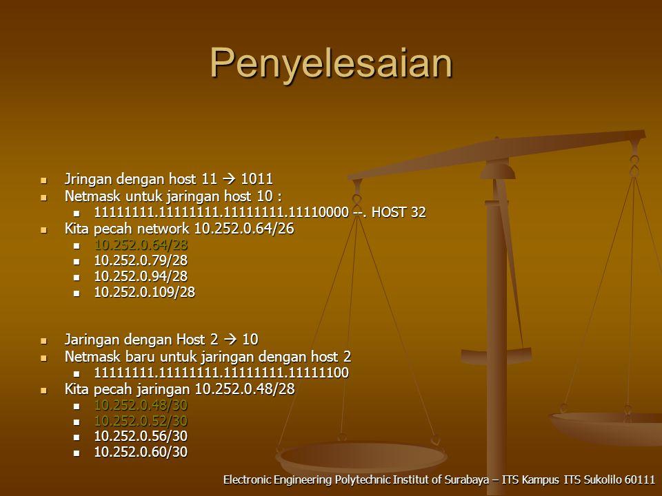 Electronic Engineering Polytechnic Institut of Surabaya – ITS Kampus ITS Sukolilo 60111 Penyelesaian Jringan dengan host 11  1011 Jringan dengan host 11  1011 Netmask untuk jaringan host 10 : Netmask untuk jaringan host 10 : 11111111.11111111.11111111.11110000 --.