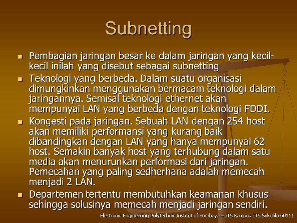 Electronic Engineering Polytechnic Institut of Surabaya – ITS Kampus ITS Sukolilo 60111 Subnetting Pembagian jaringan besar ke dalam jaringan yang kecil- kecil inilah yang disebut sebagai subnetting Pembagian jaringan besar ke dalam jaringan yang kecil- kecil inilah yang disebut sebagai subnetting Teknologi yang berbeda.