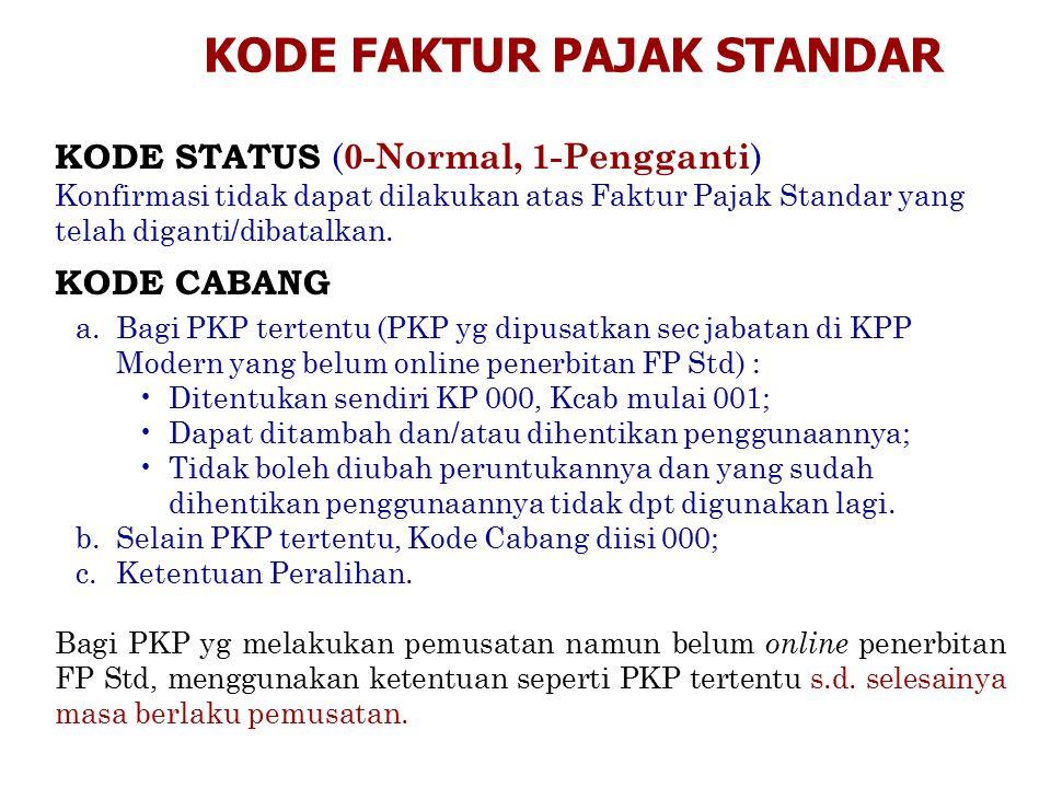 KODE STATUS ( 0-Normal, 1-Pengganti ) Konfirmasi tidak dapat dilakukan atas Faktur Pajak Standar yang telah diganti/dibatalkan. KODE CABANG KODE FAKTU