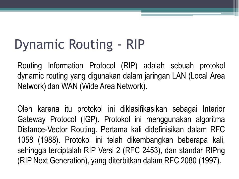 Dynamic Routing – RIP V.1 Spesifikasi asli RIP, didefinisikan dalam RFC 1058, classful menggunakan routing.