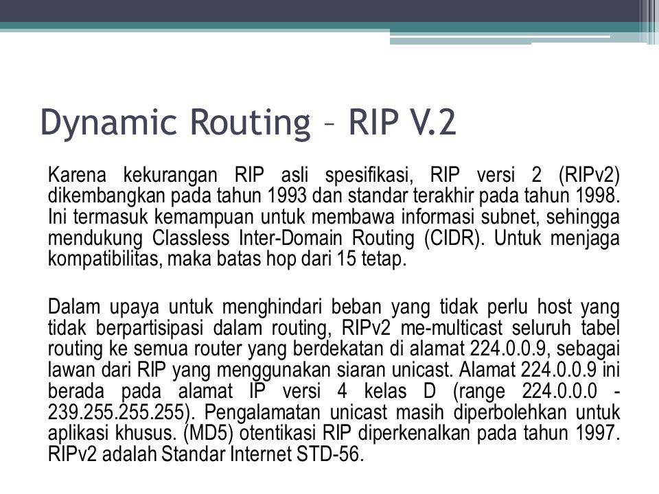 Dynamic Routing - RIP V.2