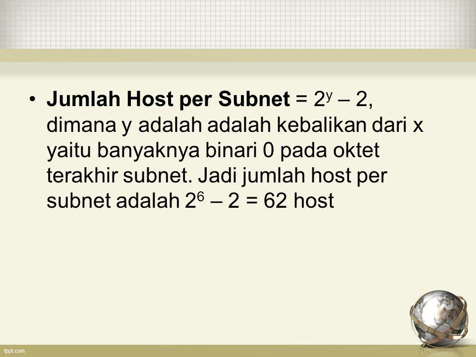 Jumlah Host per Subnet = 2 y – 2, dimana y adalah adalah kebalikan dari x yaitu banyaknya binari 0 pada oktet terakhir subnet. Jadi jumlah host per su