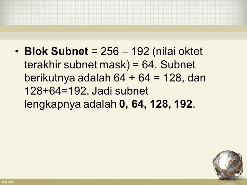 Blok Subnet = 256 – 192 (nilai oktet terakhir subnet mask) = 64. Subnet berikutnya adalah 64 + 64 = 128, dan 128+64=192. Jadi subnet lengkapnya adalah