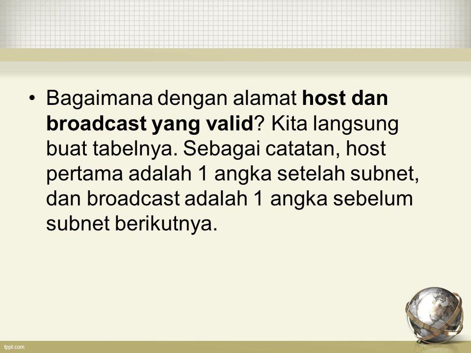 Bagaimana dengan alamat host dan broadcast yang valid? Kita langsung buat tabelnya. Sebagai catatan, host pertama adalah 1 angka setelah subnet, dan b