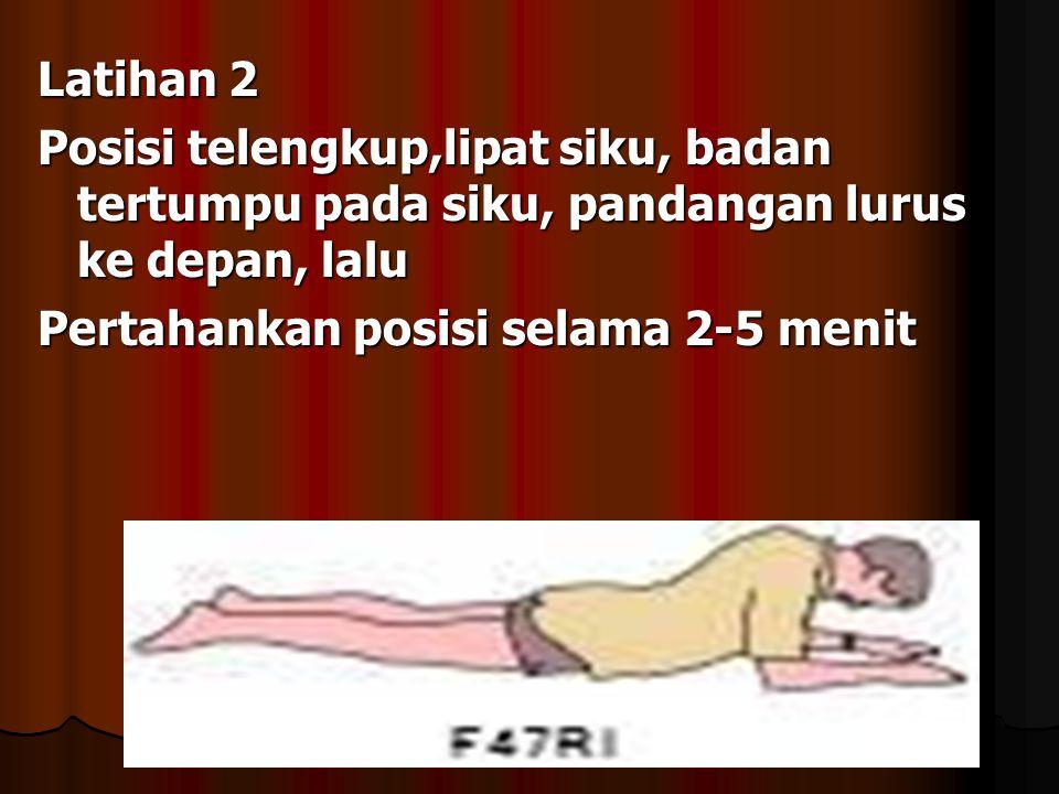 Latihan 1 - Posisi pasien terlengkup, kepala menghadap salah satu sisi, pasien diminta untuk tarik nafas dan rileks selama 4-5 menit