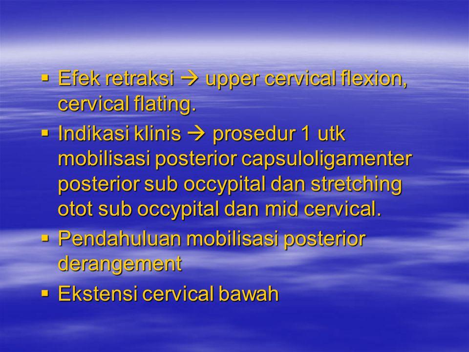 Mc. Kenzie Exc Cervical spine 1. Retraksi dgn over pressure –Duduk bersandar tegak lurus, posisi leher & kepala netral & rileks. –Retraksi full end ra