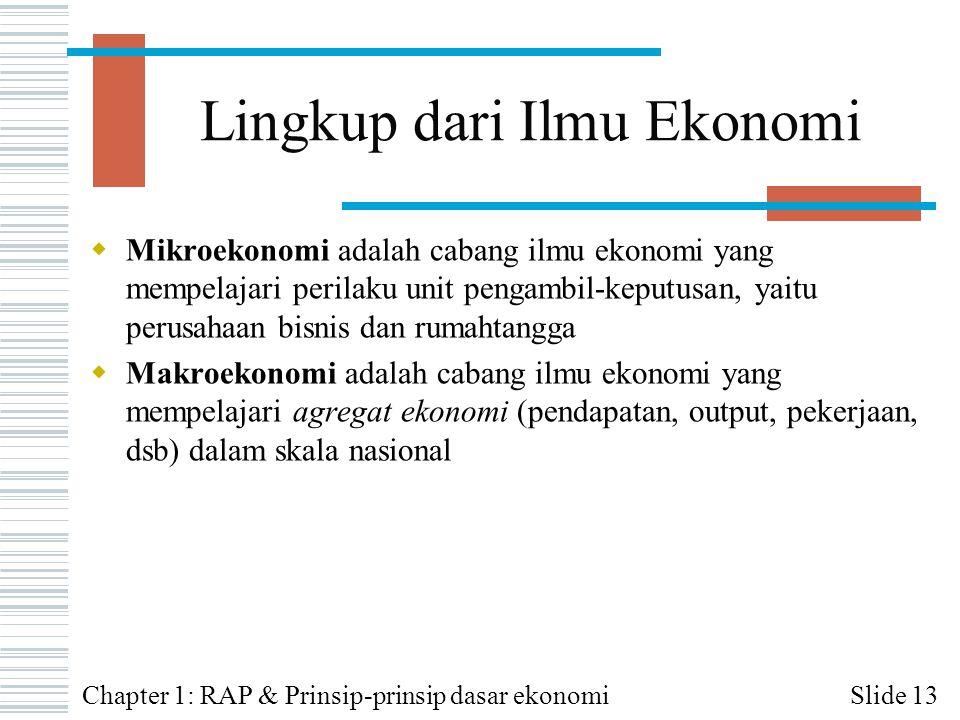 Lingkup dari Ilmu Ekonomi  Mikroekonomi adalah cabang ilmu ekonomi yang mempelajari perilaku unit pengambil-keputusan, yaitu perusahaan bisnis dan ru