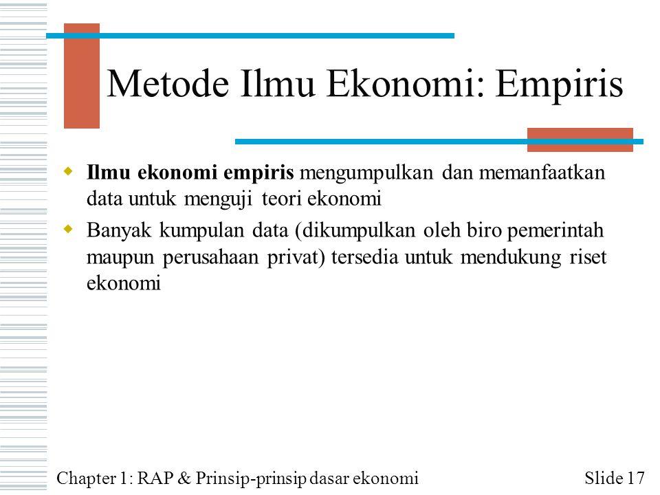 Metode Ilmu Ekonomi: Empiris  Ilmu ekonomi empiris mengumpulkan dan memanfaatkan data untuk menguji teori ekonomi  Banyak kumpulan data (dikumpulkan