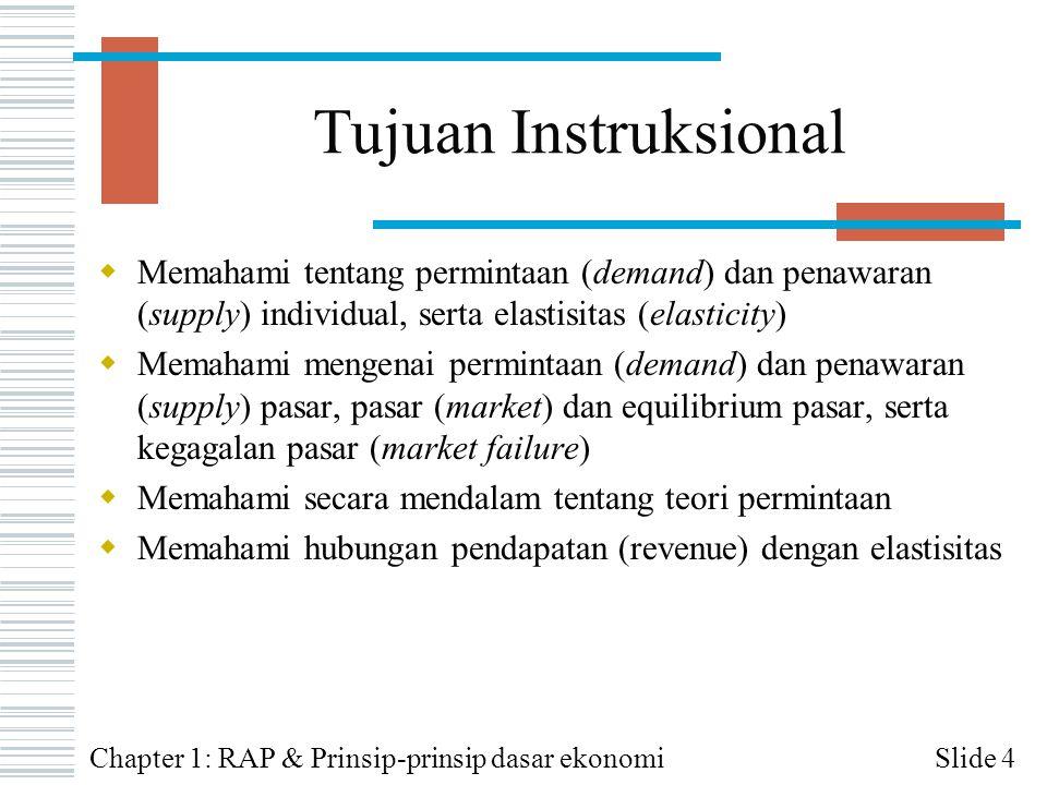 Tujuan Instruksional  Memahami tentang permintaan (demand) dan penawaran (supply) individual, serta elastisitas (elasticity)  Memahami mengenai perm
