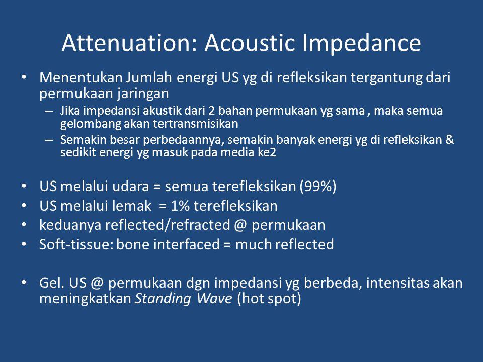 Attenuation: Acoustic Impedance Menentukan Jumlah energi US yg di refleksikan tergantung dari permukaan jaringan – Jika impedansi akustik dari 2 bahan