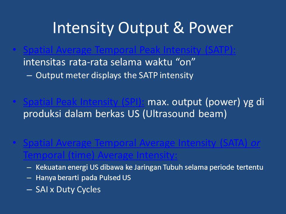 "Intensity Output & Power Spatial Average Temporal Peak Intensity (SATP): intensitas rata-rata selama waktu ""on"" – Output meter displays the SATP inten"